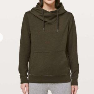 lululemon CITY SLEEK hoodie darkolive green size 6